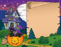Halloween parchment with cat in pumpkin - picture illustration.