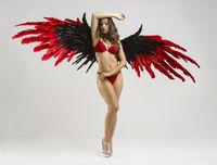 Sensual nude brunette woman with long black hair, huge wings of bird