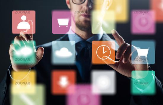 close up of businessman with virtual menu icons