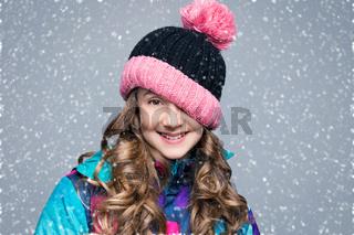 Beautiful girl in wool hat