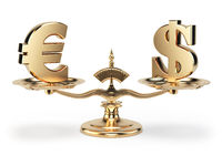Scale with symbols of currencies euro and US dollar isolated on white background.