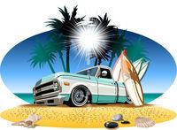 Cartoon retro camper pickup