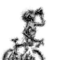 Sketch of a naked woman with a bicycle drinking a water. Digital art