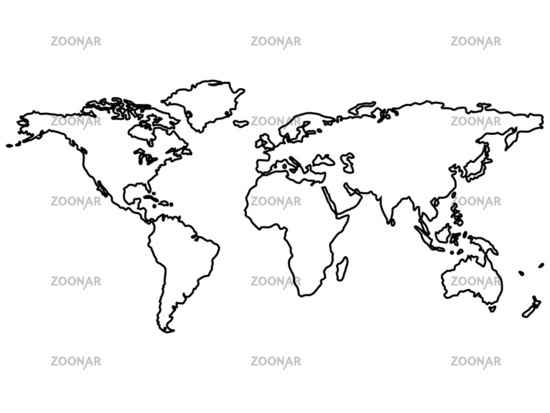 Photo black world map outlines isolated on white image 1487406 black world map outlines isolated on white gumiabroncs Gallery