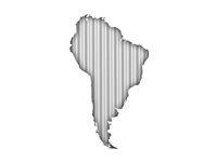 Karte von Südamerika auf Wellblech - Map of South America on corrugated iron
