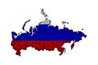 Karte und Fahne von Russland auf Mohn - Map and flag of Russia on poppy seeds
