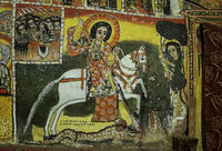 Saint George mounted on a white horse is spearing a dragon, rock church Maryam Papaseyti, Ethiopia