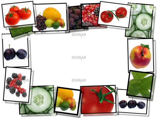 ... fresh healthy food images, border on white background with copy space