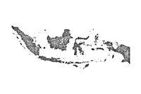 Karte von Indonesien auf Mohn - Map of Indonesia on poppy seeds