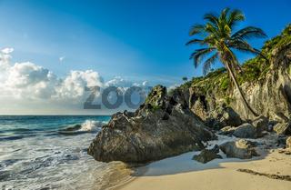 Caribbean beach with coconut palm, Tulum, Mexico