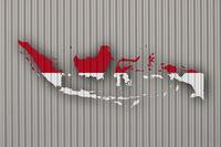Karte und Fahne von Indonesien auf Wellblech - Map and flag of Indonesia on corrugated iron