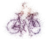 Sketch of woman with a bicycle. Digital art