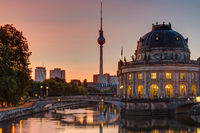 Sunrise at the Bode-Museum in Berlin with the Television Tower in the back