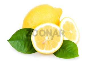 Ripe Yellow Lemons Isolated over White