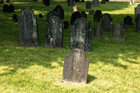 Jewish cemetery with many old obelisks in grass