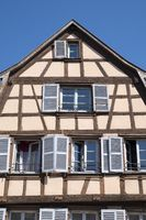 Colmar, Historic half-timbered house on the Place de l'Ancienne Douane