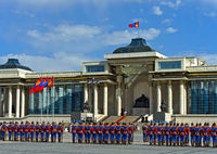 Armed Forces Honorary Guard in traditional uniform, Ulaanbaatar, Mongolia