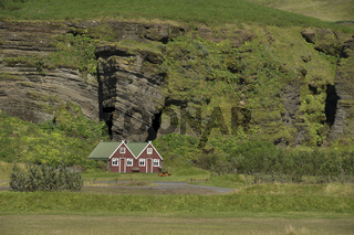 Landscape with Traditional iclandic houses for turists