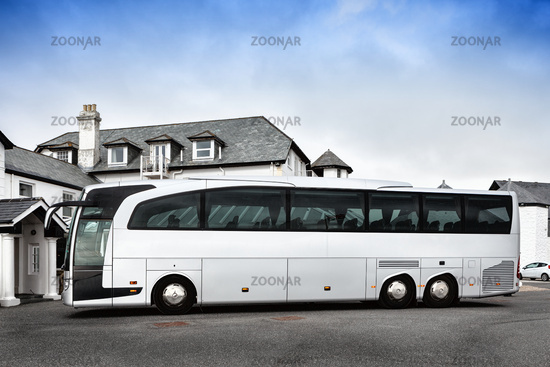 Tour bus parked outdoors