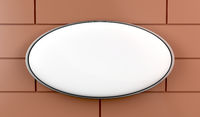 White oval signboard