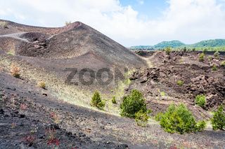 volcanic landscape with old craters of Etna mount