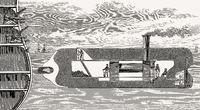 Submarine with a petard bomb, 19th century
