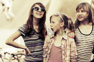 Group of happy teen girls outdoor