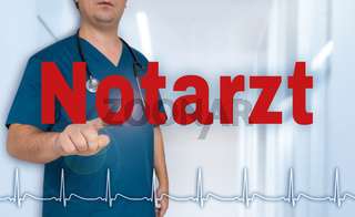 Notarzt (in german emergency doctor) showing on viewer with heart rate concept.