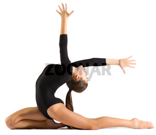 Young girl doing gymnastic exercises