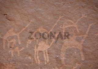 Die Alameleh Zeichnungen im Wadi Rum im Sueden von Jordanien