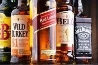 Bottles of global whiskey brands