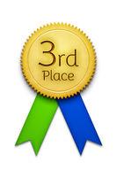 third place award ribbon badge