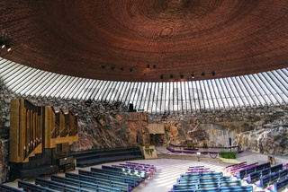 Temppeliaukio rock church famous landmark interior in helsinki finland
