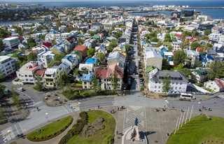 Aerial view of Reykjavik, capital of Iceland.