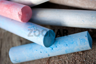Differently colored chalk for street painting