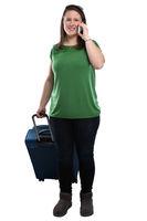 Junge Frau Telefon telefonieren Handy Reise reisen verreisen Urlaub Freisteller