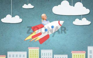 businesswoman flying on rocket above cartoon city