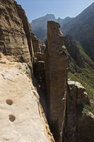 View from the entrance of the rock-hewn church Abuna Yemata in the canyons of the Gheralta Mountains