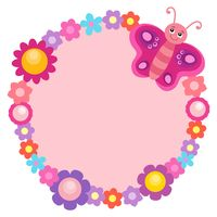 Round flower frame with butterfly 1