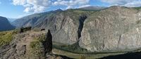 Altai mountains over river Chulyshman valley Katu-Yaryk pass