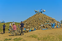 Men in the ritual circumnavigation of an Ovoo, a sacred stone heap, Mongolia