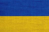 Fahne von Ukraine auf altem Leinen - Flag of Ukraine on old linen