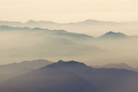 mountain ridges in heat haze