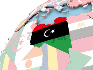 Libya on globe with flag