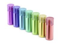 Colorful aerosol spray cans