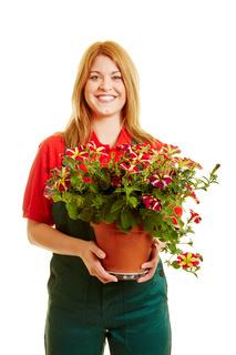 Blonde Frau als Florist oder Gärtner