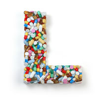 Letter L. Set of alphabet of medicine pills, capsules, tablets and blisters isolated on white. 3d illustration
