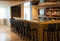 Defocused interior of modern bar