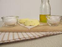 Homemade vegan margarine with rapeseed oil, coconut oil and fleur de sel