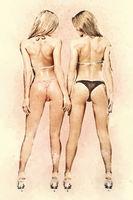 Two athletic girls in bikini. Digitally generated image